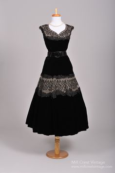 1950's Black Velvet Soutache Vintage Party Dress : Mill Crest Vintage