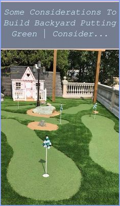 Some Considerations to Build Backyard Putting Green | Consider The Space, Choose The Company to Hire, Check The material and monitor installation process | Backyard Putting Green Diy | Backyard Golf Ideas | Putting Green Holes | Backyard Putting Green Design. Numerous golf enthusiasts would enjoy their own putting green, but think they can't manage it. This holiday weekend we made a little... Backyard Putting Green, Perfect Golf, Flexibility Workout, Play Golf, Golf Courses, Monitor, How Are You Feeling, Space, Building