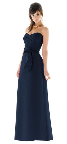 Alfred Sung Peau De Soie Navy Blue Bridesmaid Dress-The lovely dress my BMs will be wearing. Love the classic design and simplicity. :)