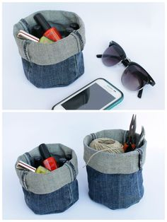 """Upcycle your old denim jeans into these useful baskets, no sewing required. [symple_box color=""""gray"""" fade_in=""""false"""" float=""""center"""" text_align=""""left"""" Website: Curly Made ! Submitted by: Daniela ! Diy Jeans, Diy With Jeans, Jeans Refashion, Jeans Recycling, Textile Recycling, Couture Main, Trash To Couture, Diy Accessoires, Denim Ideas"""