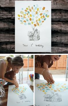 1st birthday keepsake for baby to decorate their room of finger prints of family and friends attending the party. Could also use for reveal party and have pink and blue ink to indicate their vote on whether its a boy or girl.