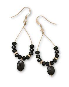 14/20 Gold Filled Black Spinel Drop Earrings
