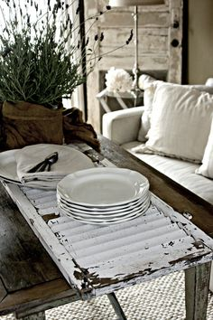 Shutter coffee table display via Salvage Dior