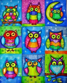 owl art painting - owl art + owl artwork + owl art projects for kids + owl art drawing + owl art painting + owl art for kids + owl art dark + owl art artwork Art For Kids, Crafts For Kids, Arts And Crafts, Pintura Graffiti, Square 1 Art, Ecole Art, Owl Crafts, Arte Pop, Autumn Art