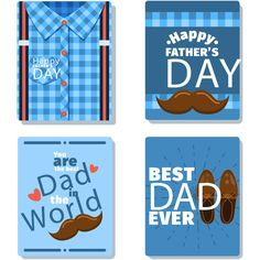 Happy Father's Day Cute Greetings Cards Set