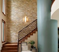 Stacked Stone Interior Wall Design, Pictures, Remodel, Decor and Ideas - page 2 - My-House-My-Home Stone Interior, Interior Stairs, Interior Design, Gray Interior, Modern Staircase, Staircase Design, Railing Design, Custom Home Builders, Custom Homes