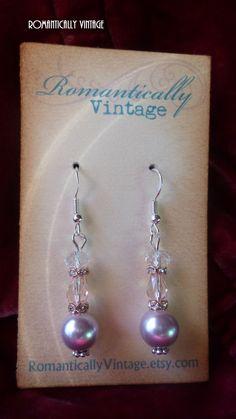 Elegant Pearl Swarovski Crystal Earrings by RomanticallyVintage, $19.00