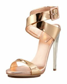 X1XB7 Giuseppe Zanotti Big-Buckle Ankle-Wrap High-Heel Sandal, Copper