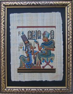 Egyptian Papyrus - In extremely refined details, this painting is depicting the young Pharaoh sitting on his throne, pouring perfume (which was invented in ancient Egypt) in his bride's - Queen Ankh-tse-amun's- hand, while she is leaning tenderly on his knee in a romanting setting. Price: &175
