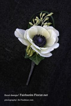 make white anemonee boutonniere - Google Search