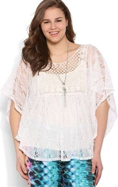 Deb Shops Plus Size Short Sleeve Lace and Crochet Peasant Top $13.95