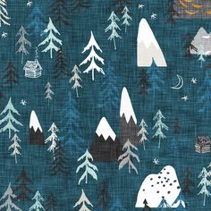 Forest Fabric - Forest Peaks (Midnight Blue) By Nouveau Bohemian - Woodland Mountain Rustic Cotton Fabric By The Metre With Spoonflower Double Gauze Fabric, Cotton Twill Fabric, Fleece Fabric, Blue Fabric, Muslin Baby Blankets, Berlin, Nursery Fabric, Midnight Blue, Custom Fabric
