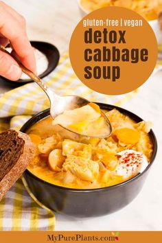 This hearty and filling vegan cabbage soup is loaded with veggies and vegan sausages. It is very satisfying and comforting to eat yet perfect for weight loss diet or detox. How To Shred Cabbage, Cabbage Diet, Cabbage Soup, Crockpot Recipes, Soup Recipes, Whole Food Recipes, Cabbage Vegetable, Quick Vegan Meals, Vegan Sour Cream