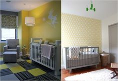 idées de décoration chambre bébé en gris blanc et jaune-vert
