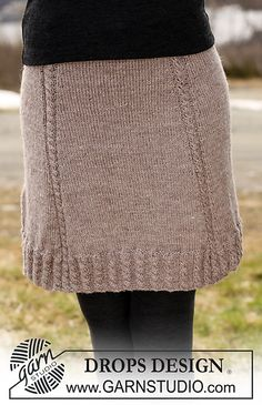 """Ravelry: 115-42 Skirt in """"Karisma"""" with cables along bottom edge and 4 cables on skirt pattern by DROPS design"""