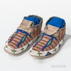 Sioux Beaded Hide Moccasins, 1890's