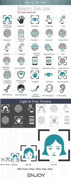 Buy Biometric Authentication Icons by Bismillah_bd on GraphicRiver. Biometric Authentication Icons Features: color schemes are available: – DarkCyan – Gray – Light - 3 . Biometric Authentication, Biometric Security, Data Icon, Security Solutions, Information Graphics, Easy Drawings, Pencil Drawings, Line Icon, Best Web