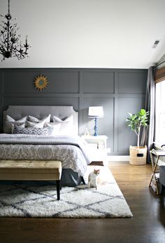 back wall, headboard, rug, plant, color