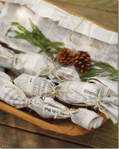 Herbal fire starter. Wrap cinnamon sticks and fragrant herbs in some newspaper, tie with a string, and add to the base of your fire. Light and breathe in the cozy scent.