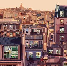 Paris | illustration by Pier Paolo Rovero Paris Amor, Paris Illustration, Bo Bartlett, Andrew Wyeth, Merida, Art Studios, Reign, Book Lovers, Art Nouveau