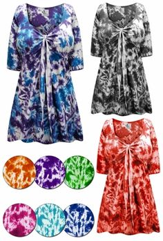 a64f05326d9 SALE! Customizable Tie Babydoll Cotton Shirt In Marble Tie Dye Plus Size    Supersize Lg