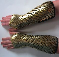 Dragon Scale Armor Gauntlets Knitted Scale Maille Elbow Length Gold Dragonhide Custom Made. $119,00, via Etsy.