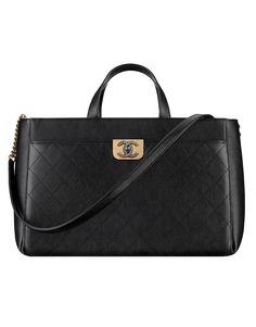 e7cb83dcd4 Grand sac shopping zippé, veau, métal doré & métal ruthénium-noir - CHANEL