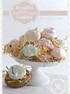 BEAUTIFUL PASTEL MERINGUE COOKIES- easy to make and like eating a cloud-stonegableblog.com