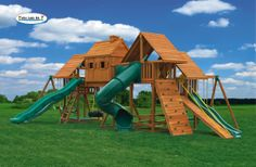 We've added all we can add to the Imagination #3 swing set! This jungle gym simply has it all. It includes the tree house, three clubhouses with wood roofs, a gang plank ramp, a wooden step ladder, a deluxe sandbox and a 14' super scoop slide, plus the spiral tube slide and two wave slides. Plus, both of the lower clubhouses have 10' long wave slides and steel access ladders for easy climbing.