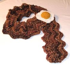 Crochet eggs and bacon, looks like a scarf I would totally wear!!!