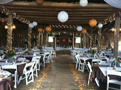Ceremony and reception in the same space with an aisle