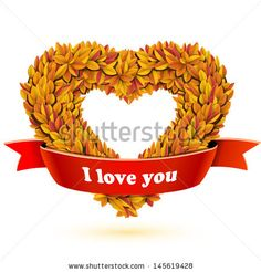 Heart of fall leaves and red ribbon banner with text  by Chuhail, via ShutterStock
