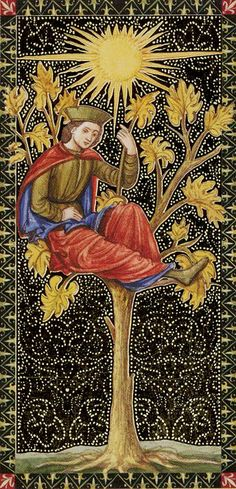 Ace of Wands - Golden Tarot of Renaissance par Giordano Berti & Jo Dworkin