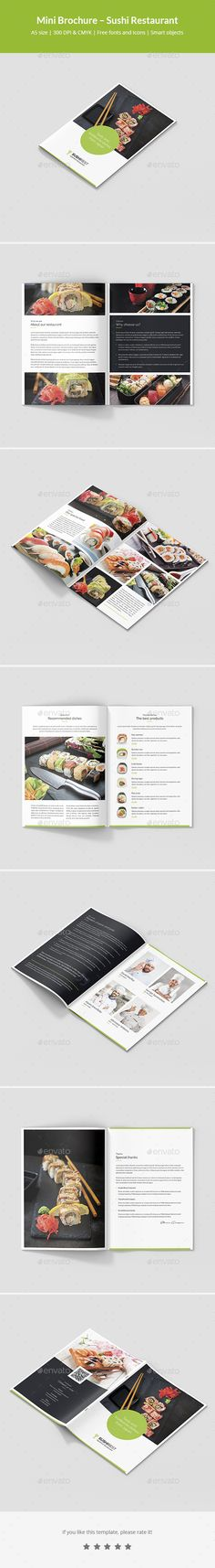 Mini Brochure – Sushi Restaurant A5 #chinese food #futomaki • Download ➝ https://graphicriver.net/item/mini-brochure-sushi-restaurant-a5/21261999?ref=pxcr