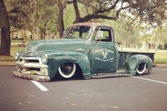 55 chevy first series rat truck bagged with great patina