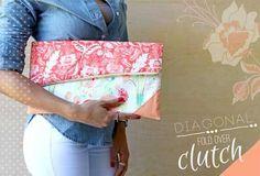 Free Bag Pattern - Diagonal Fold Over Clutch