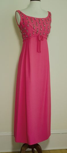 1960s Pink Beaded Cocktail Dress, Empire Waist, Dripping Glass Beads & Crystals VTG Babydoll Dress