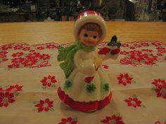 Lefton Porcelain Christmas Girl Figurine