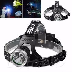 Headlamp Flashlight 2000Lm XPE LED Rechargeable Battery Head Light Torch Riding #Unbranded
