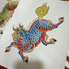 Japanese Tattoo Art, Japanese Art, Japanese Mythical Creatures, Dragon Face, G Dragon, Korean Crafts, Making My Way Downtown, Fu Dog, Chinese Embroidery
