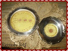 "**~Primitive Hand Painted ""Believe and Joy"" Snowman and Gingerbread Plates~** $12"
