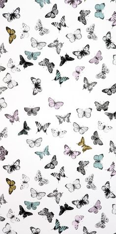 MIMOU young swedish brand for wallpapers and textiles ... butterfly white/mult