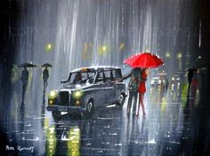 PETE RUMNEY FINE ART BUY ORIGINAL ACRYLIC OIL PAINTING RESCUE FROM THE RAIN HAND PAINTED BY BRITISH ARTIST IN THE UK - ORIGINAL ART