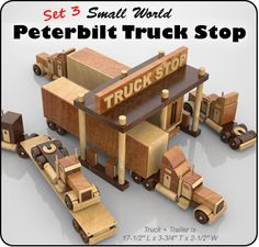 "Plan Set Description: Peterbilt truck with trailer is 17-1/2"" L x 3-3/4"" T x 2-1/2"" W. Toys are 1:43 scale - standard modelmakers scale. Works great with and is the same scale as the Small World Volkswagens and Small World Pony Stable. Color 8-1/2"" x 11"" pages with black & white pattern pages."