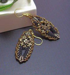 Peyote seed bead earrings with embellished rope edge
