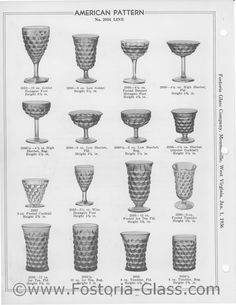 AMERICAN PATTERN No. 2056 LINE...I have 2 each of the hexagon based goblets