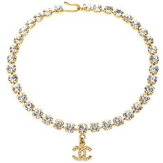 Pre-owned Chanel Rhinestone Choker with CC ($2,800) ❤ liked on Polyvore featuring jewelry, necklaces, chanel, j., choker necklaces, chanel jewellery, rhinestone jewelry, chanel jewelry and choker necklace