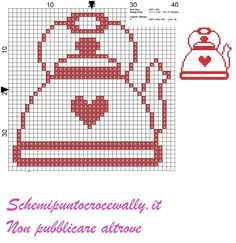 Red Teapot - Second Crafting Cross Stitch Kitchen, Mini Cross Stitch, Cross Stitch Heart, Cross Stitching, Cross Stitch Embroidery, Embroidery Patterns, Hand Embroidery, Cross Stitch Designs, Cross Stitch Patterns
