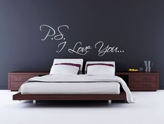 PS I love you bedroom wall art sticker wedding engagement present gift idea