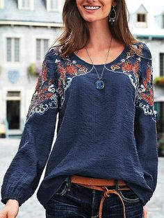 Plus Size Long Sleeve Cotton-Blend Crew Neck Plain Tops - fabric arts embroidery sweets embroidery inspiration embroidery beautiful Plain Tops, Plain Shirts, Loose Shirts, Long Sleeve Tops, Long Sleeve Shirts, Mode Style, Types Of Sleeves, Blouses For Women, Summer Outfits